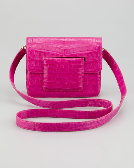 Front-Flap Crocodile Crossbody Bag, Pink