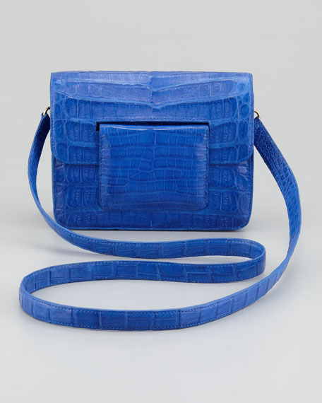 Front-Flap Crocodile Crossbody Bag, Blue