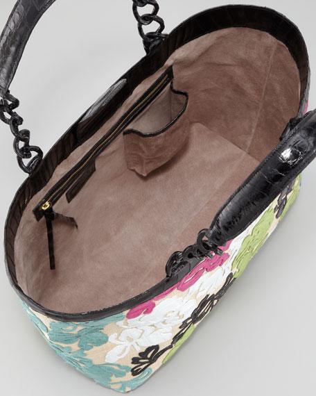 Crocodile Floral Applique Tote Bag