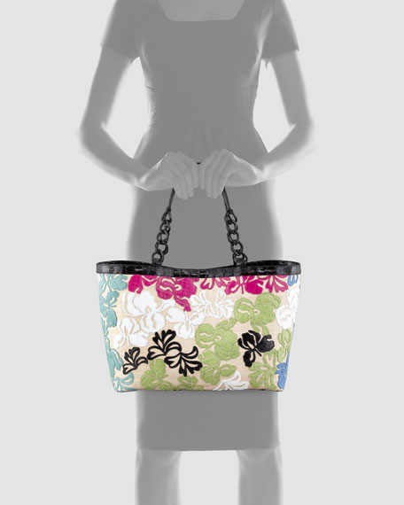 Crocodile Floral Applique Tote Bag