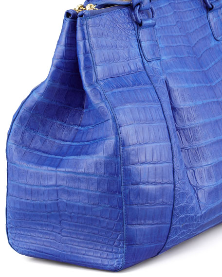 Executive Double-Zip Crocodile Tote Bag, Cobalt