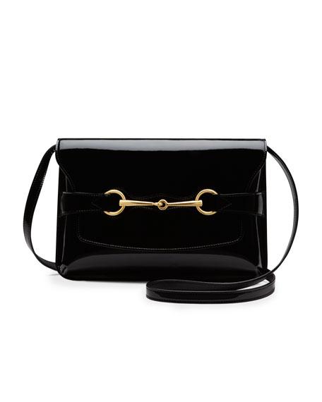 Bright Bit Patent Leather Shoulder Bag, Black