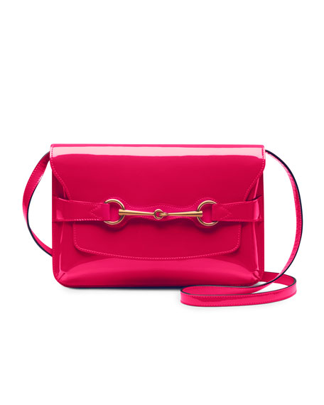 Bright Bit Patent Leather Shoulder Bag, Pink