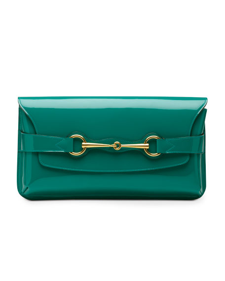 Bright Bit Patent Leather Clutch Bag, Teal
