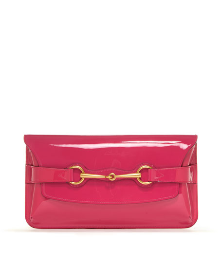 Bright Bit Patent Leather Clutch Bag, Pink