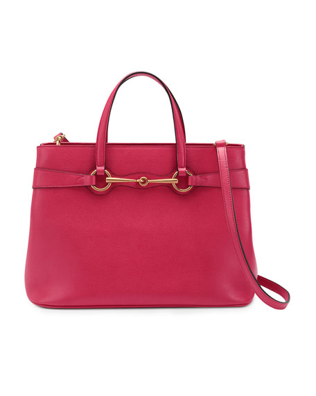 Bright Bit Medium Leather Tote Bag, Pink