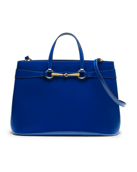 Bright Bit Large Leather Tote, Sapphire