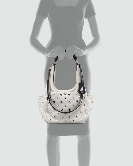 Franco Studded Hobo Bag, Open Off White