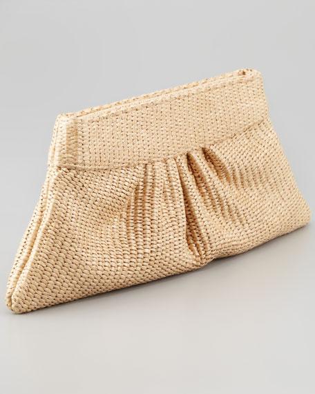 Louise Pleated Raffia Clutch Bag, Natural