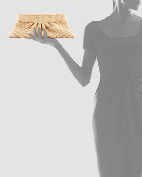 Louise Pleated Raffia Clutch Bag, Natural
