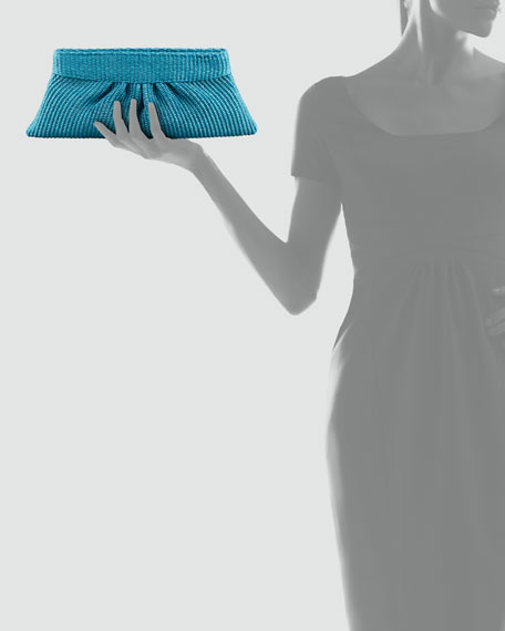 Louise Pleated Raffia Clutch Bag, Turquoise