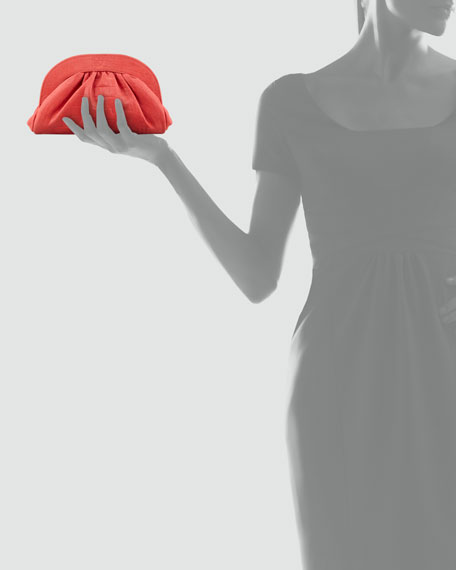 Vivi Ruched Croc-Embossed Clutch Bag, Coral