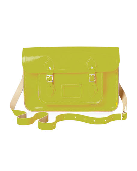 "15"" Classic Leather Satchel, Yellow"