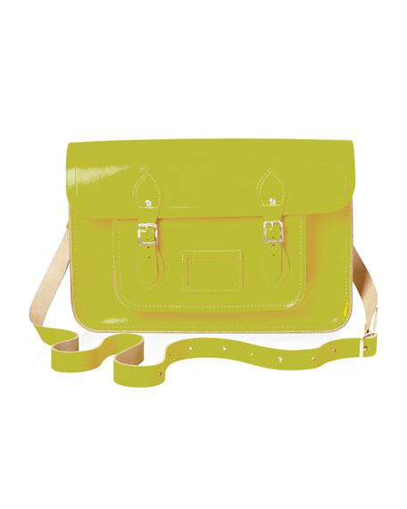 "15"" Classic Leather Satchel, Yellow"