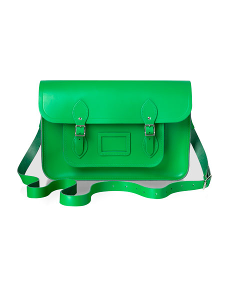 "15"" Classic Leather Satchel, Green"