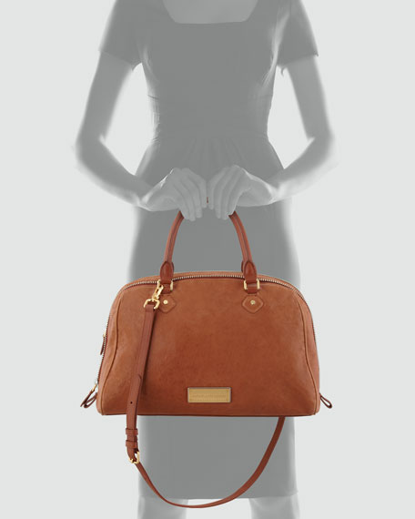 Washed Up Lauren Leather Satchel Bag, Tan