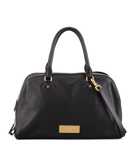 Washed Up Lauren Leather Satchel Bag, Black