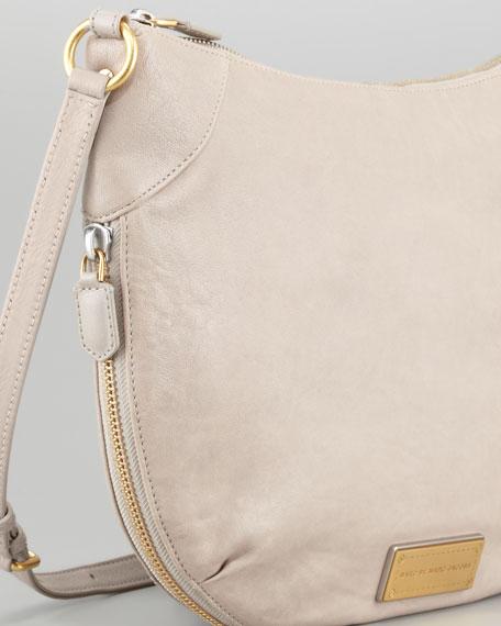 Washed Up Leather Messenger Bag, Taupe