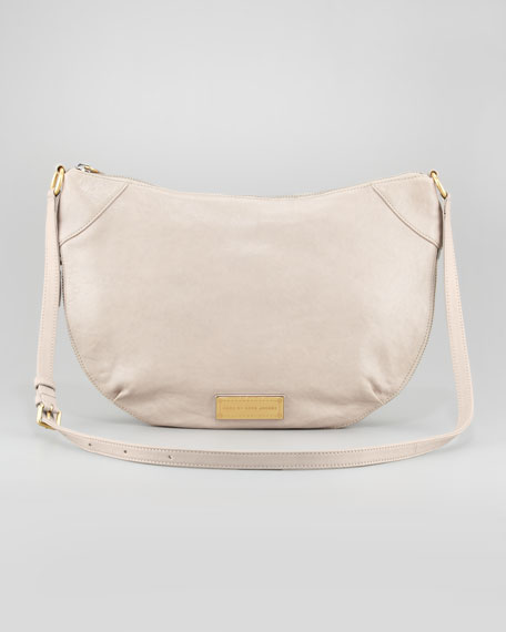 Washed Up Leather Messenger Bag, Taupe