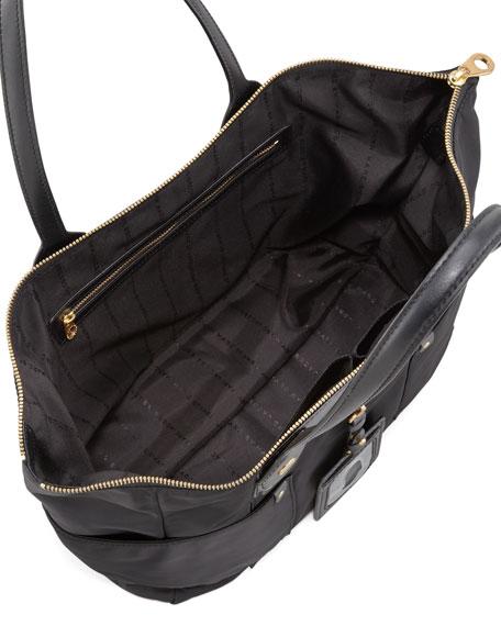 Preppy Nylon East-West Tote Bag, Black
