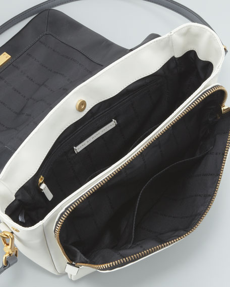 Goodbye Columbus Colorblock Satchel Bag, Black