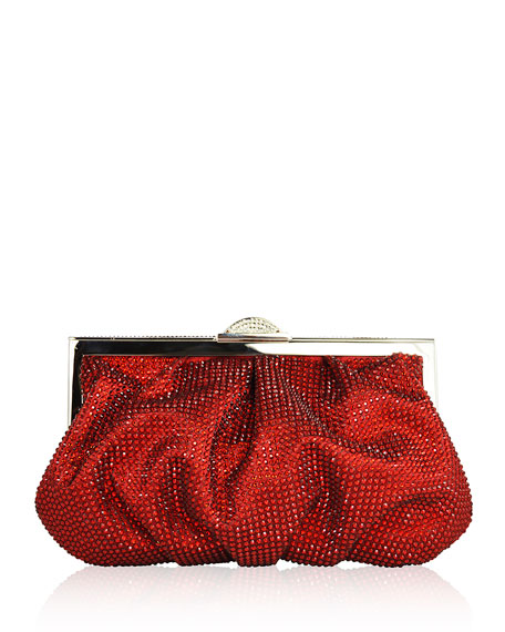 Natalie Foiled Python Clutch Bag, Champagne