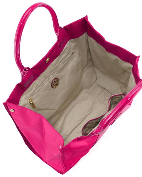 Ella Nylon Tote Bag, Magenta