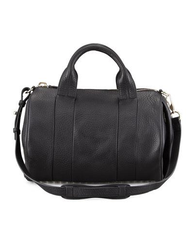 Alexander Wang Rocco Leather Satchel Bag, Black/Pale Gold