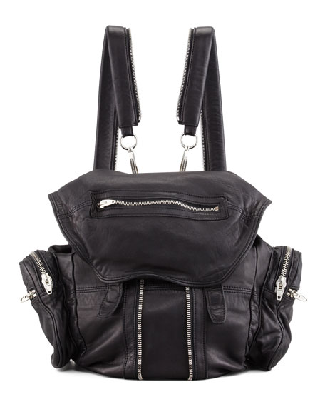 Alexander Wang Marti Washed Lambskin Backpack, Black/Nickel
