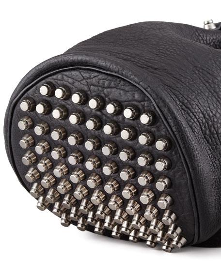Diego Bucket Bag, Black/Nickel Hardware