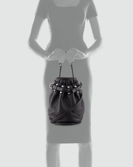 Diego Bucket Bag, Black/Nickel Hardware