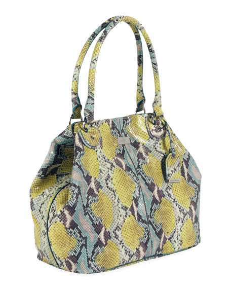 Village Convertible Snake-Print Tote Bag, Multicolor