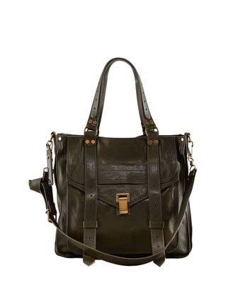 PS1 Small Leather Tote Bag, Military