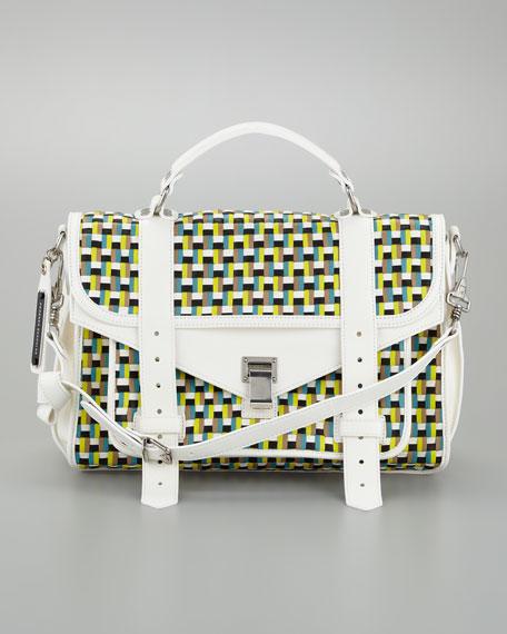 PS1 Woven Leather Medium Satchel Bag, Sunshine/White