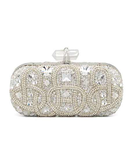 Lily Medium Embroidered Stone Box Clutch, Clear
