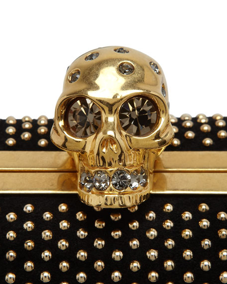 Studded Suede Skull Box Clutch Bag, Black