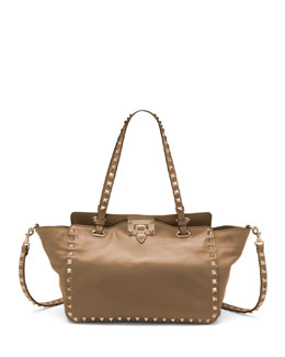 Valentino Rockstud Mini Tote Bag, Tan