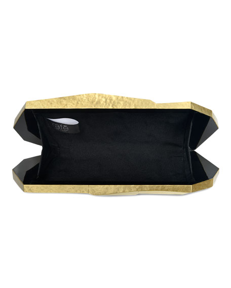 Maryanne Faceted Brass Minaudiere