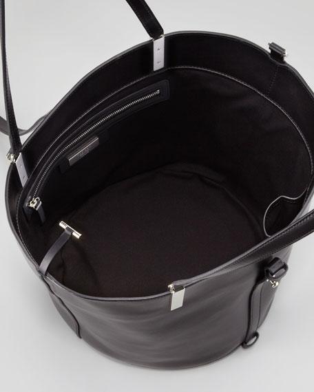 Garden Lizard-Trim Tote Bag, Black