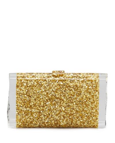 Edie Parker Lara Confetti Clutch Bag, Gold
