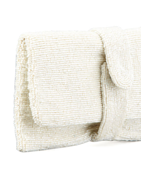 Beaded Fold-Over Clutch Bag, Ivory