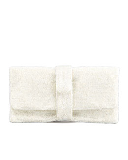 Moyna Beaded Fold-Over Clutch Bag, Ivory