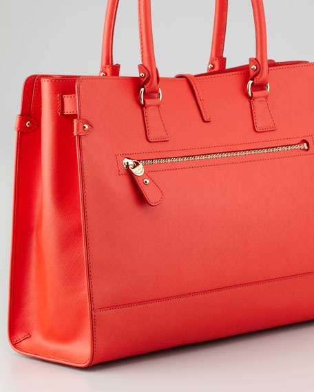 Briana Large Leather Tote Bag, Coral