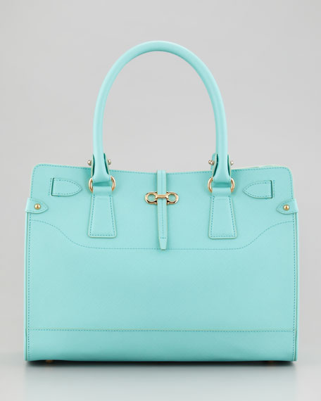 Briana Small Leather Tote Bag, Turquoise