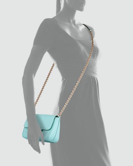 Fancy Chain Shoulder Bag, Turquoise