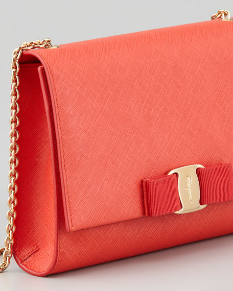 Vara Chain Clutch Bag, Lava Coral