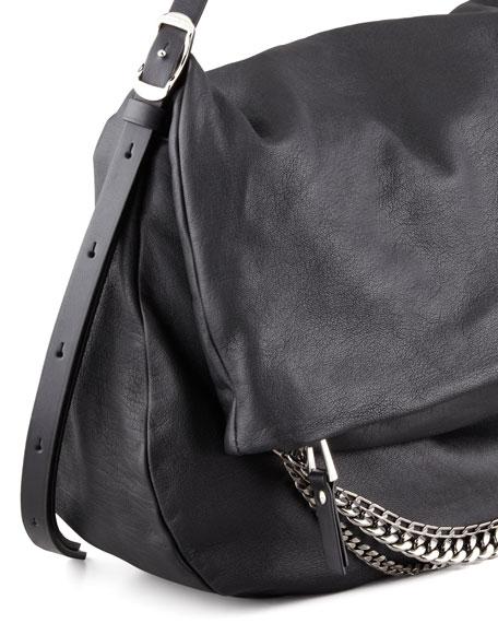Biker Large Hobo Bag, Black