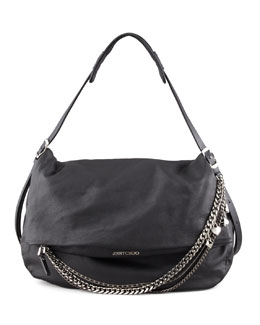 Jimmy Choo Biker Large Hobo Bag, Black