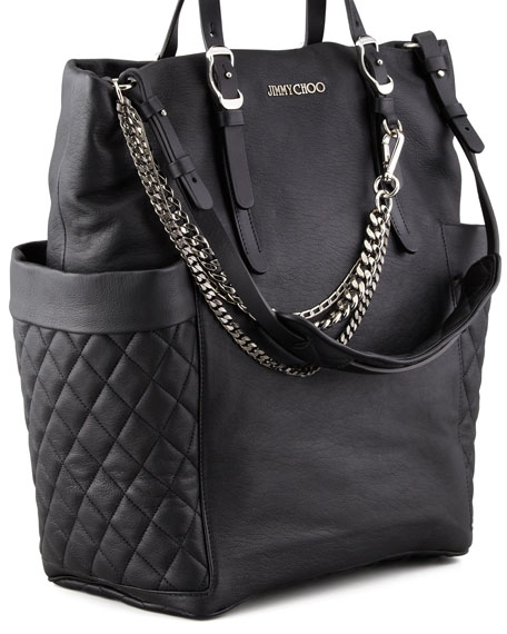 Blare Leather Tote Bag, Black