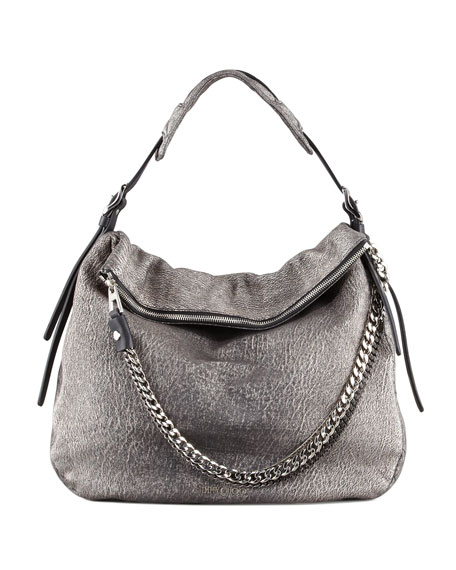 Boho Metallic Hobo Bag, Platinum